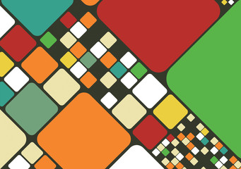 Vector retro background with round edge cubes or maze