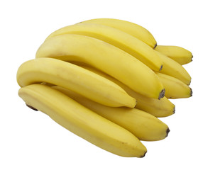 A bunch of bananas over a white