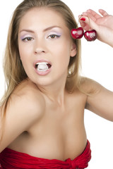 girl with cherry
