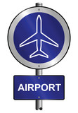 Airport graphic and text information sign mounted on post