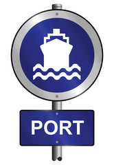 Port graphic and text information sign mounted on post