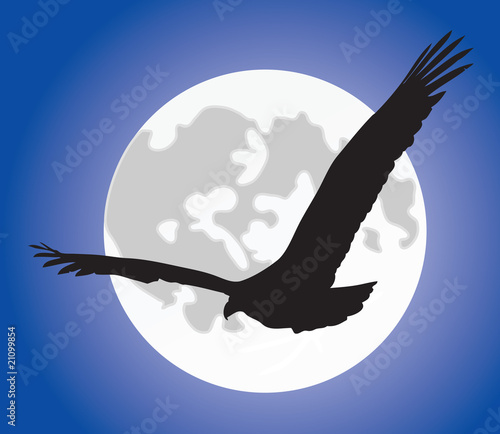 Eagle silhouete over moon