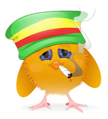 Rastafarian chick smoking joint