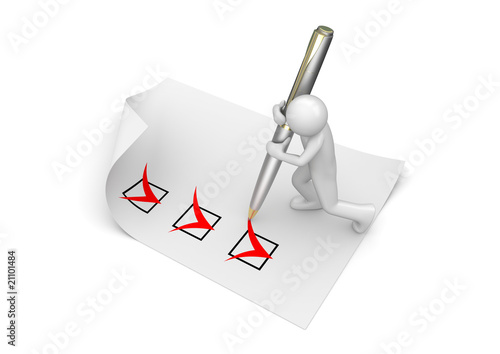 Man marking checkboxes