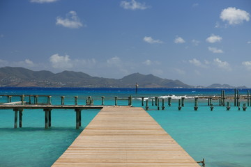 Jetty on tropical paradise Anguilla with view to St. Martin