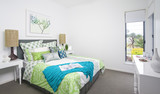 guest bedroom in modern townhouse poster