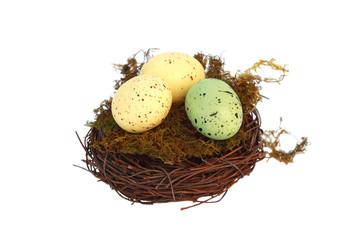 Speckled Easter Eggs in Nest