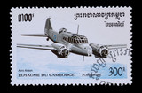 Cambodian mail stamp featuring an Avro Anson aircraft
