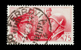 Italian mail stamp featuring Hitler and Mussolini