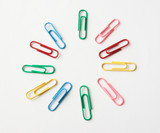 colorful paper clips of different colors