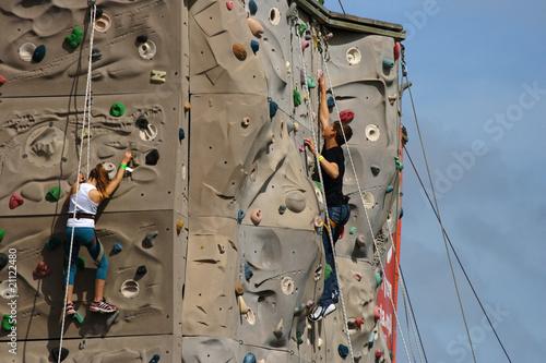 Climbers on a climbing wall