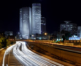 Fototapety Night view of Azrieli complex and Ayalon Highway in Tel Aviv