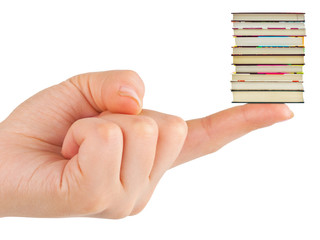 Hand and small books