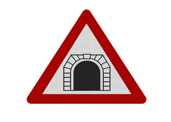 photo-realistic 'tunnel ahead' sign, isolated on white