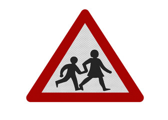 school crossing sign, isolated