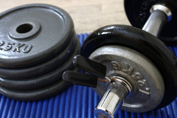 Dumbbells close up and stacked weights