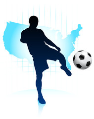 Soccer Player with United States Map