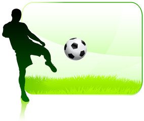 Soccer Player on Green Nature Frame