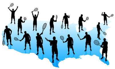 Tennis Team with United States Map