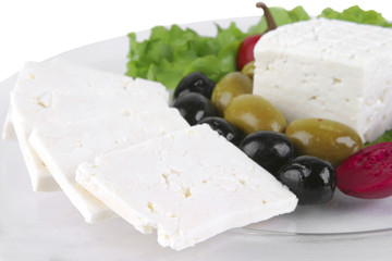 goat greek cheese on dish