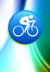 Cyclist Internet Button on Abstract Color Background