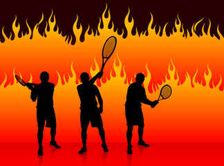 Tennis Team on Fire Background