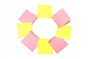 Eight pink and yellow stickers