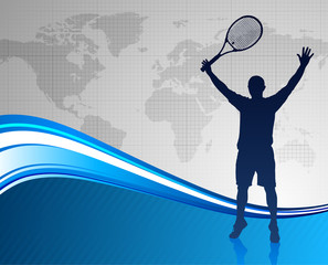 Tennis Player on Abstract Blue Background with Worl Map