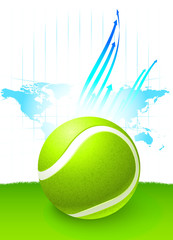 Tennis Ball with World Map Background