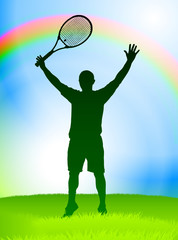 Tennis Player on Rainbow Background