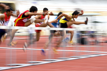 Men's 110 Meters Hurdles Action (Blurred)