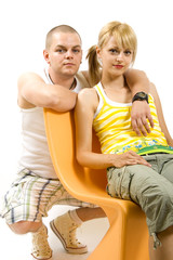 man and woman on chair