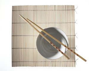 bamboo placemat with a bowl and chopsticks