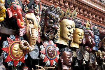 Traditional Wooden Masks, Kathmandu, Nepal