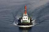 Tug boat - symbol and metaphor of power and pressing poster