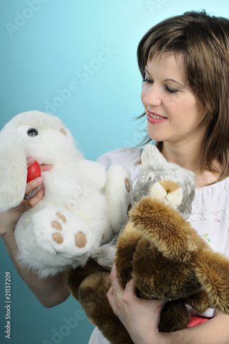 poster of white woman evaluating toys