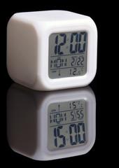 A digital alarm clock