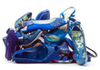 Pile of female blue shoes