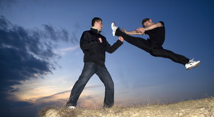 karate training in sunset