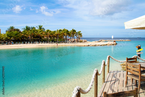 Leinwanddruck Bild Mambo Beach auf Curacao