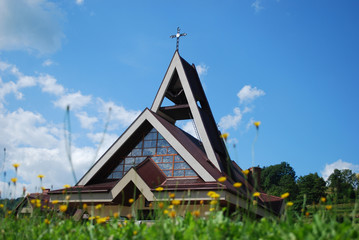 Modern church in Pewel Wielka,Poland.