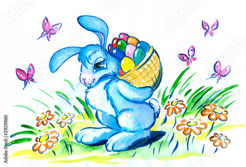Easter bunny with basked eggs ,watercolor -painted  myself.
