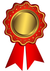 Golden and red award with red ribbons