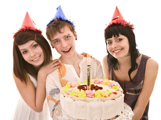 Group people in party hat with happy birthday cake.