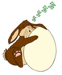 Ostern, Osterhase, Hase, Ei, Osterei, verschlafen
