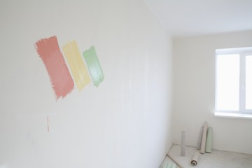 Paint samples on wall of new apartment