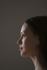 Young woman side view portrait