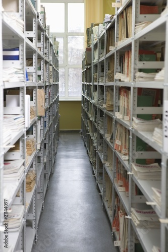 Aisle of books in library