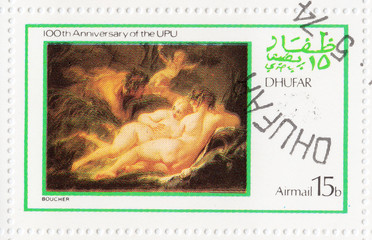 stamp shows pic to painter Boucher