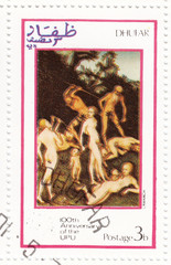 stamp shows pic to painter Cranach